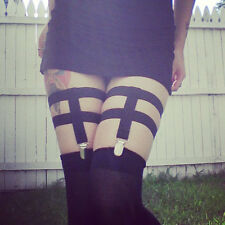 Cosplay Black Plain Sock Garter Nylon Elastic Metal Clip Leg Garter Belt Harness
