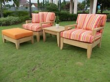 Atnas 4pc Grade-A Teak Wood Deep Seater Sofa Lounge Chair Set Outdoor Patio New