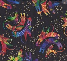 """Laurel Burch Holiday Collection Angel Cat Fabric Clothworks 25"""" x 42"""""""