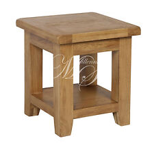 SOLID CHUNKY WOOD RUSTIC OAK SIDE LAMP TABLE WITH SHELF