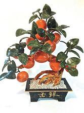"Jade Stone Blossom Orange Fruit Bonsai Tree 16"" T x 13"" W"