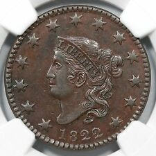 1822 N-5 R-3 NGC AU 55 Matron or Coronet Head Large Cent Coin 1c
