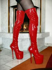 MEGA EXTREM Plateau Lack High Heels Overknee Stiefel ROT 40 Stiletto ABSATZ 20cm