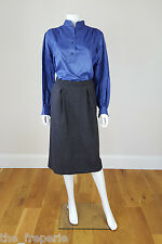 *YVES SAINT LAURENT* VINTAGE RIVE GAUCHE GREY A LINE SKIRT 44