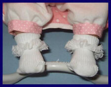 "Lace Ruffle Trim Doll SOCKS Baby Booties for 14"" Reborn & BERENGUER BABIES"