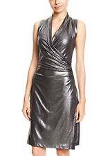 KamaliKulture Silver Lame Faux Wrap Side Drape Metallic  Dress M SASSY SKY