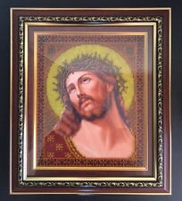 """EMBROIDERED WITH SPARKLING CRYSTAL BEADS RUSSIAN ORTHODOX ICON """"JESUS CHRIST"""""""