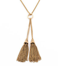 Art Deco Double Tassel Pendant Necklace Long Gold Chain Ring Designer Jewelry