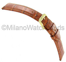 19mm Speidel Wild Crocodile Grain Tan Genuine Leather Watch Band Strap Regular