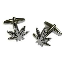 Smokers Leaf CUFFLINKS Cannabis Marijuana Ganja Smoke Hash Birthday Present
