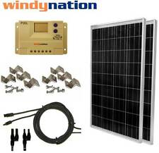 200 Watt (2pcs 100W) Solar Panel Kit 12V 24V w/ LCD Charge Controller RV, Boat