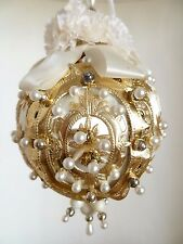 Vintage Hand Crafted Satin Beaded Sequin White & Gold Christmas Holiday Ornament