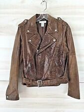 Newport News genuine leather distressed brown belted motorcycle jacket 10 M L