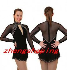 Black Ice Figure Skating Dress Women Girls Hook Long Sleeve Competition Dress