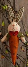 Primitive Carrot Top Bunny with Green Gingham Ears