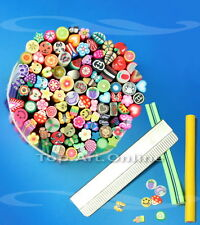 100pcs 3D Nail Art Fruit flower Fimo Canes Rods Sticks Sticker Decoration With B