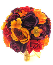 Wedding Silk Flower Bouquet 17 pc Bridal package BURGUNDY PLUM GOLD ORANGE RED