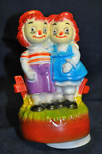 Vintage Raggedy Ann and Andy Music Box Plastic Rotates Figurine Works!