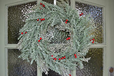 Gisela Graham Christmas Door Wreath Frosted Fir and Red Berry 45 cm