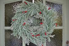 Verde Pálido Abeto & Rojo Baya Guirnalda De Navidad De lujo Puerta Corona 45 cm