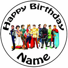 "Personalised Birthday Disney Princes Round 8"" Easy Precut Icing Cake Topper"