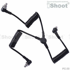 Male to Male 3-plug PC SYNC Cord Cable fr Camera&Flash&Radio Trigger&Light Meter