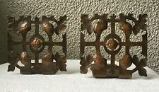 Vintage arts and crafts cutout hammered copper bookends