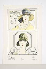 """Estampe coloriée au Pochoir CHAPEAUX DE LA FEMME CHIC """"AGNES"""" vers 1925"""