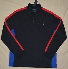 New XL POLO RALPH LAUREN Men half zip jersey shirt black red long sleeve top