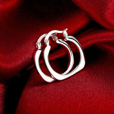 Fashion Simple Classic Design 925 Silver Plated Square Hoop Earrings Xmas Gift