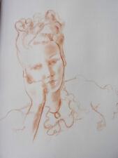 """DIGNIMONT / LITHOGRAPHIE signée """" Portrait Sépia """"  38x28 1946"""