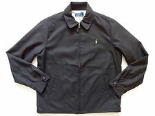New Ralph Lauren Polo Black 100% Poly Windbreaker Pony Logo Jacket sz M