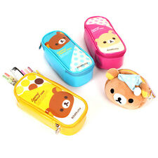 1x Cute Rilakkuma Bear Colorful Enamel Pencil Case Pen Bag Stationery Organizer