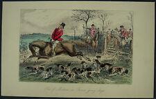 C1870 caza del zorro Caballo & Hounds John sanguijuela mano color acero grabado impresión