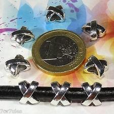 40 Tubos Para Cuero 10mm T203C Plata Tibetana Rohre Tubi Fermoirs Perlen Beads