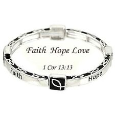 Bracelet, Faith Hope Love I Corinthians 13:13 Christian Ichthus Religious #552-A