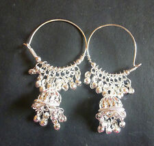 Antique Silver Plated Indian Ring Jhumki Jhumka Bridal Party Set Earrings
