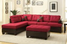 Reversible Sofa Sectional Red Blended Linen Couch Chaise Ottoman Furniture