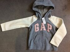 GAP- GREY FLEECE ZIP UP HOODED CARDIGAN WITH CREAM SLEEVES & PINK LOGO- 5y BNWT