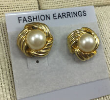 Vintage style Earrings Pearl Faux White Button Ribbed Cast metal Gold Surround