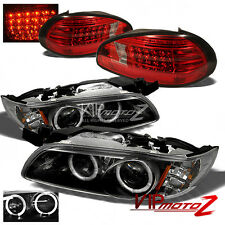{BLACK} Halo Projector Headlight+LED Tail Lights 1997-2003 PONTIAC GRAND PRIX