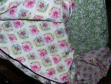 POTTERY BARN KIDS Green Pink Floral Tie Closure TWIN Duvet Cover - EUC