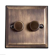 BRASS DOUBLE DIMMER LIGHT SWITCH FLAT PLATE 1 WAY 2 GANG GOLD COLOR METAL ROTARY