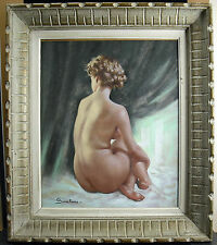 Pastel de Pio SANTINI (1908-1986) femme nue sur le sable Naked woman on the sand