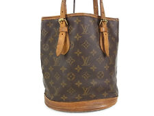 Auth LOUIS VUITTON M42238 Monogram Pattern Bucket PM Shoulder Bag Brown 13963i