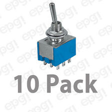 3PDT 9 CONTACTS (ON/OFF/ON) MINIATURE TOGGLE SWITCH 6AMPS @ 125VAC #66-1215-10PK