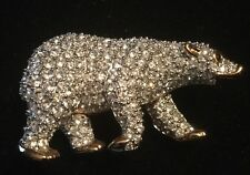 Swarovski Polar Bear Pin Brooch with Clear Crystals Gold Color