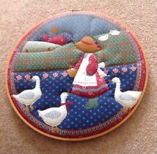 Vintage Holly Hobbie Sampler On Wooden Hoop