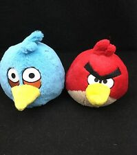 "Angry Birds Red Tan Yellow Blue Plush 6"" Rovio Mobile Commonwealth Toy Lot of 2"