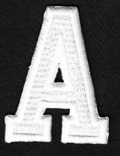 "LETTERS - WHITE BLOCK LETTER ""A"" (1 7/8"") - Iron On Embroidered Applique Patch"